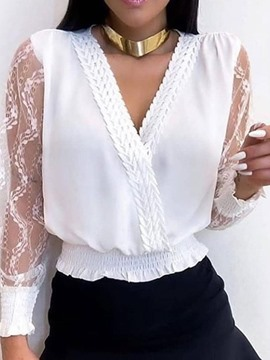 Ericdress Patchwork Lace V-Neck Lantern Sleeve Blouse