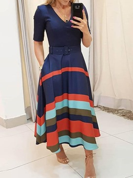Ericdress Expansion Pocket Stripe Belt V-Neck Dress