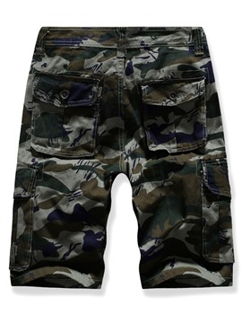 Ericdress Camouflage Straight Mid Waist Mens Zipper Shorts