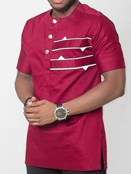 Ericdress African Fashion Casual Color Block Button Mens Loose T-shirt