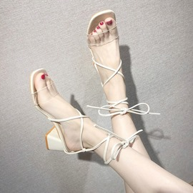 Ericdress PVC Lace-Up Chunky Heel Open Toe Women's Sandals