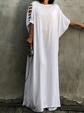 Ericdress Casual Half Sleeve Plain Round Neck Floor-Length Maxi Dress