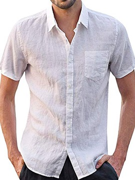 Ericdress Button Plain Single-Breasted Men's Slim Shirt