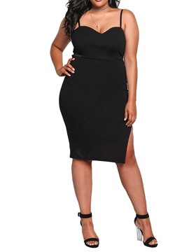 Ericdress Plus Size Bodycon Split Spaghetti Strap Knee-Length Dress