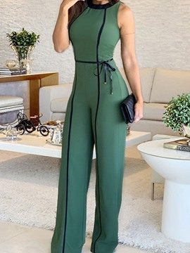 Ericdress Lace-Up Color Block Slim Full Length Jumpsuit