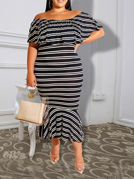Ericdress Plus Size Stripes Off Shoulder Mermaid Mid-Calf Dress