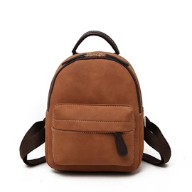 Ericdress Pure Color PU Plain Thread Backpack