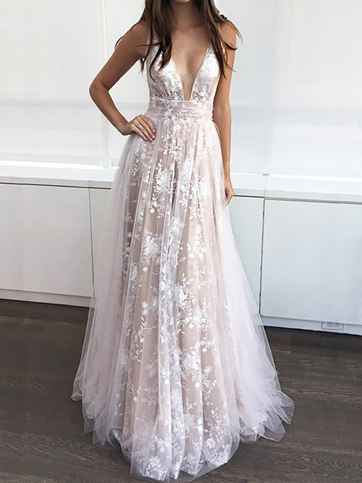 Ericdress V-Neck A-Line Lace Prom Dress 2019
