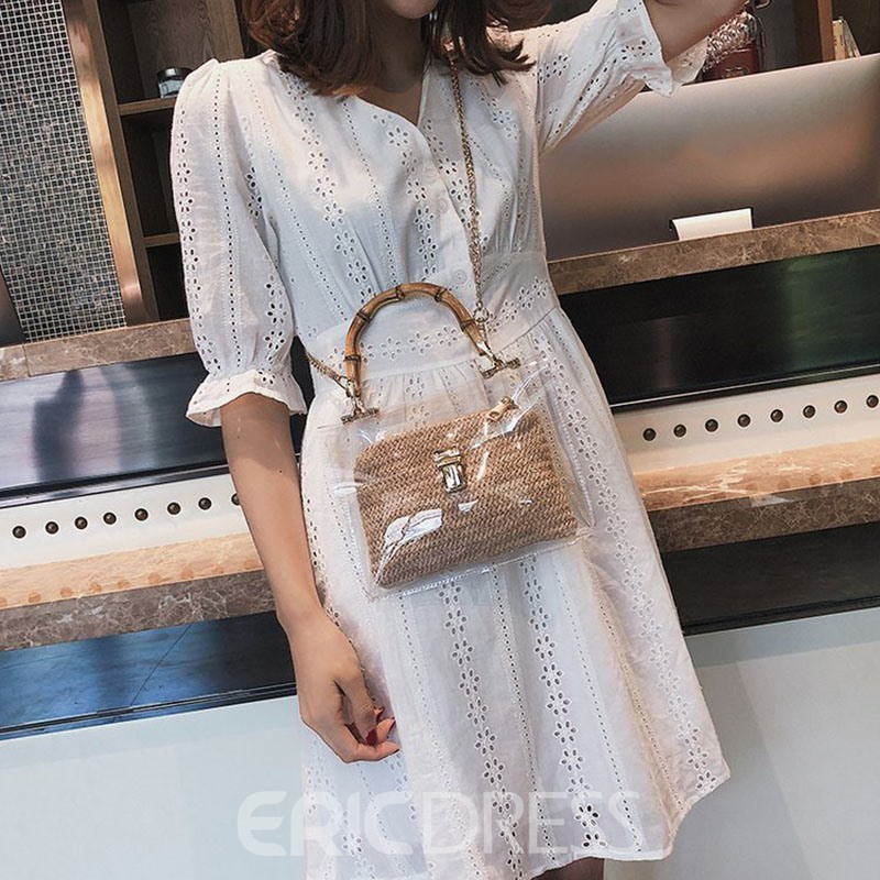 Ericdress Lock Plain PU Square Tote Bag