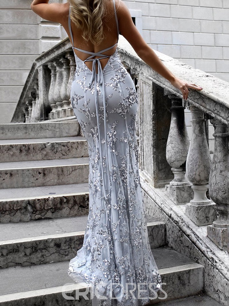 Ericdress Mermaid Lace Backless Evening Dress