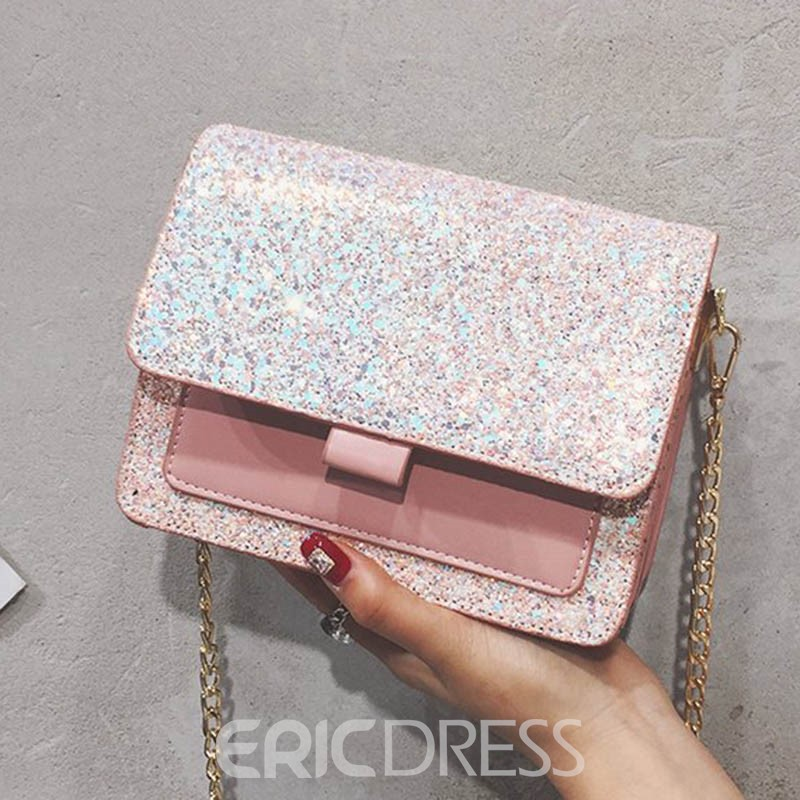 Ericdress Plain Flicker Sequins Square Crossbody Bag