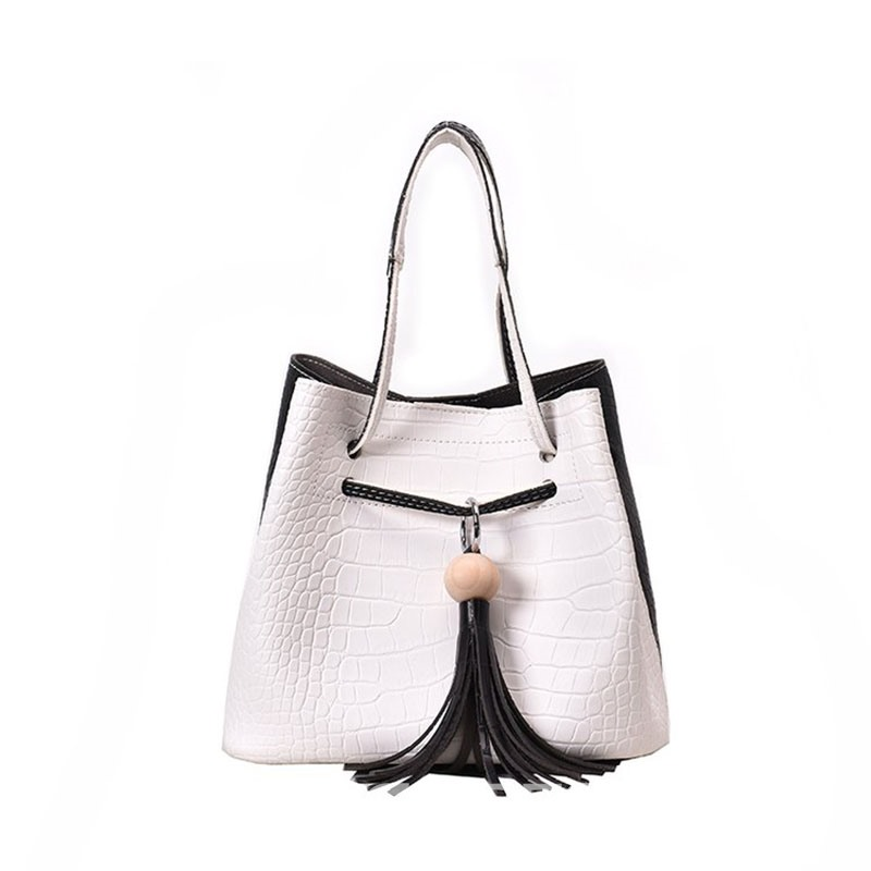 Ericdress Color Block PU Alligator Barrel-Shaped Tote Bag