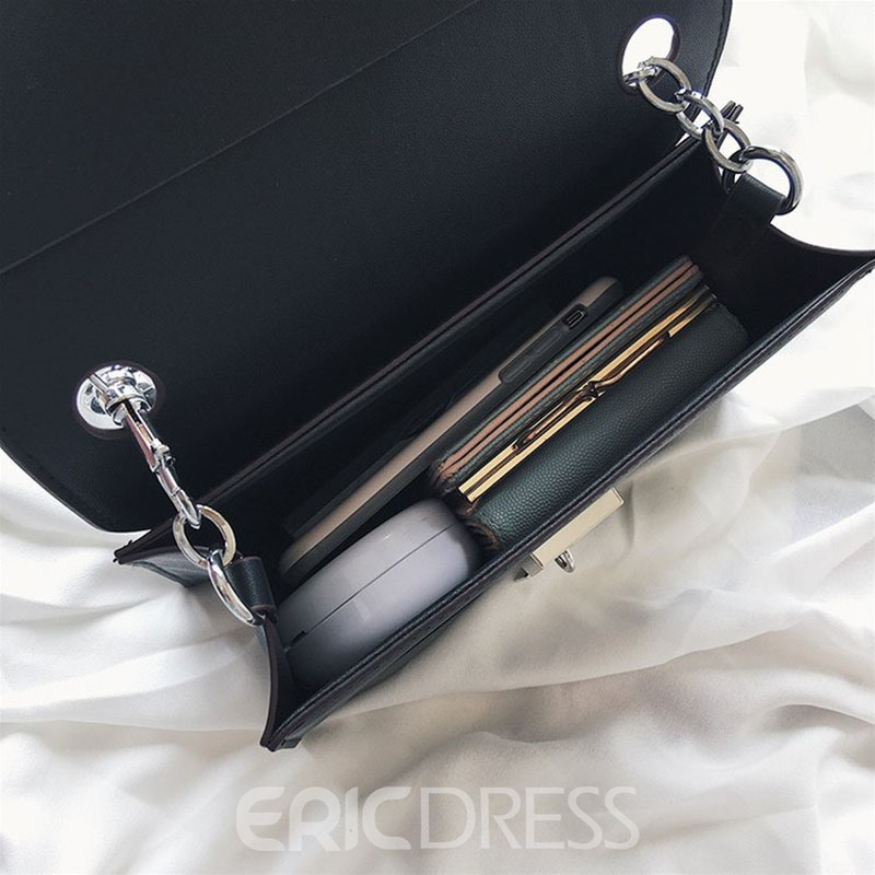 Ericdress Chain Plain PU Square Crossbody Bag