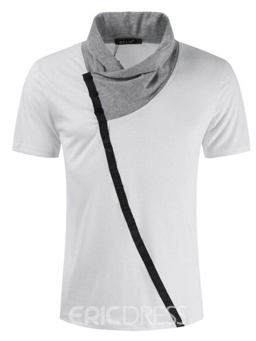 Ericdress Patchwork Casual Color Block Slim Mens Short Sleeve T-shirt