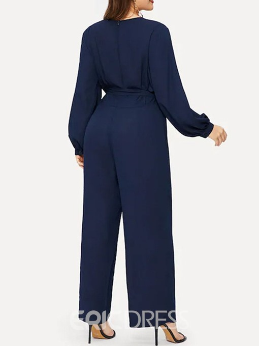Ericdress Plus Size Royal Blue Bowknot Loose Jumpsuit