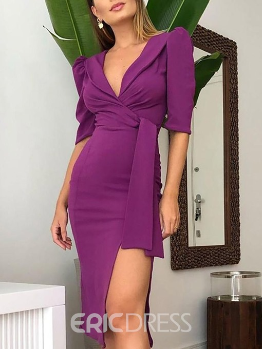Ericdress Asymmetrical OL V-Neck Mid-Calf Half Sleeve V-Neck Plain Dress