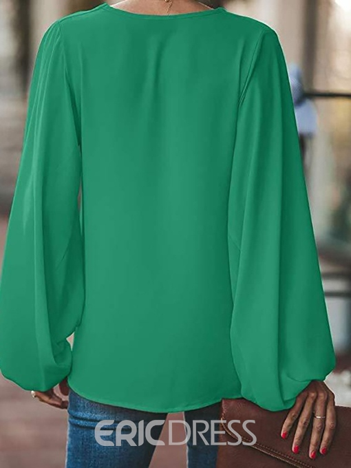 Ericdress Plain Pleated Lantern Sleeve Casual Blouse