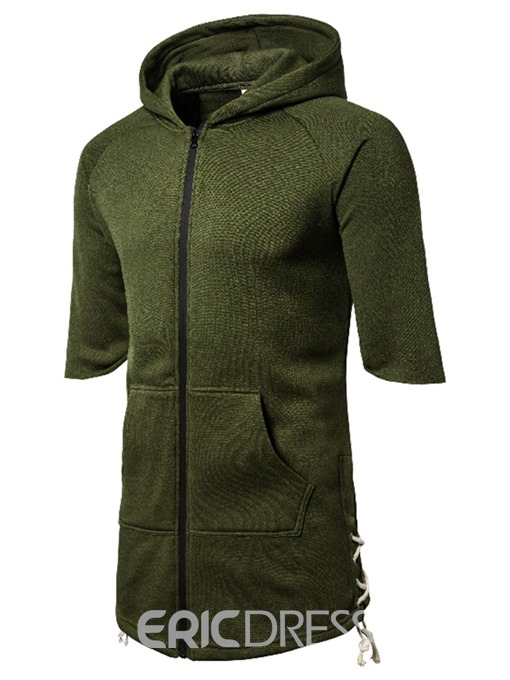 Ericdress Plain Hooded Mens Short Sleeve T-shirt