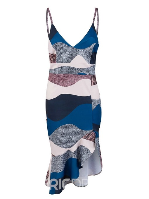 Ericdress Asymmetrical Color Block V-Neck Mid-Calf Dress