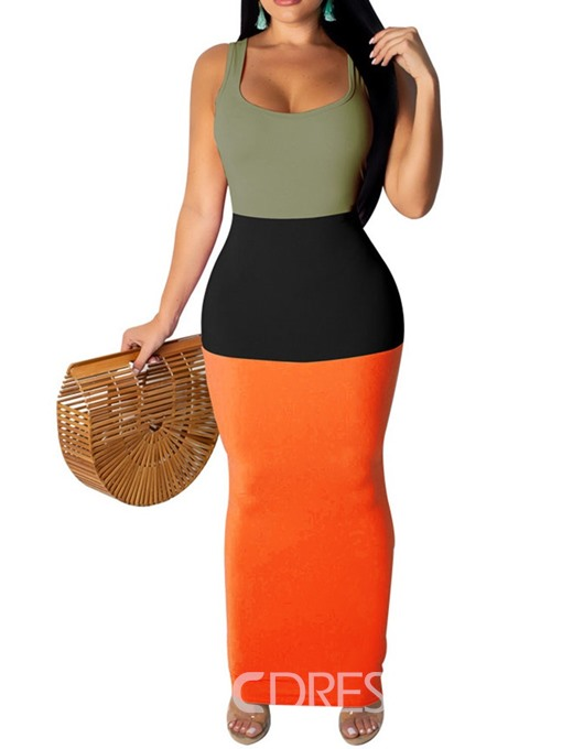 Ericdress Color Block Pencil Patchwork Sleeveless Ankle-Length Dress