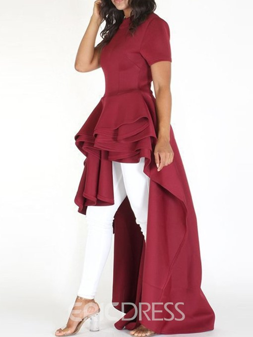 Ericdress Asymmetrical Ruffles Cocktail Short Sleeve Floor-Length Dress