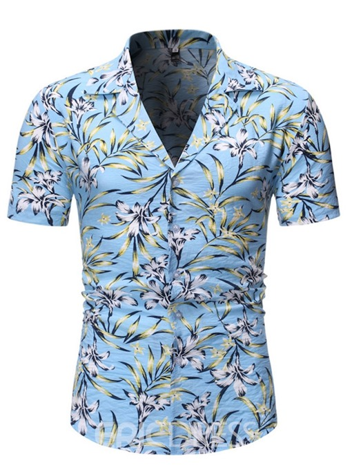 Ericdress Casual Button Floral Mens Single-Breasted Shirt