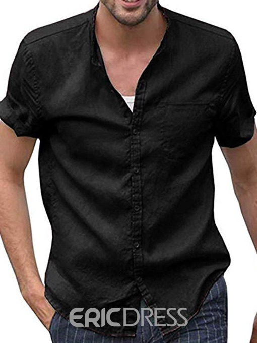 Ericdress Button Plain Men's Single-Breasted Shirt