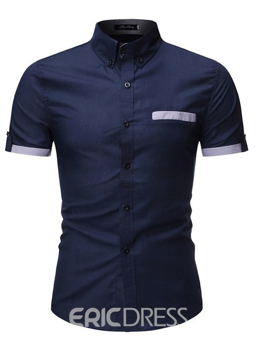 Ericdress Color Block Button Casual Mens Single-Breasted Shirt