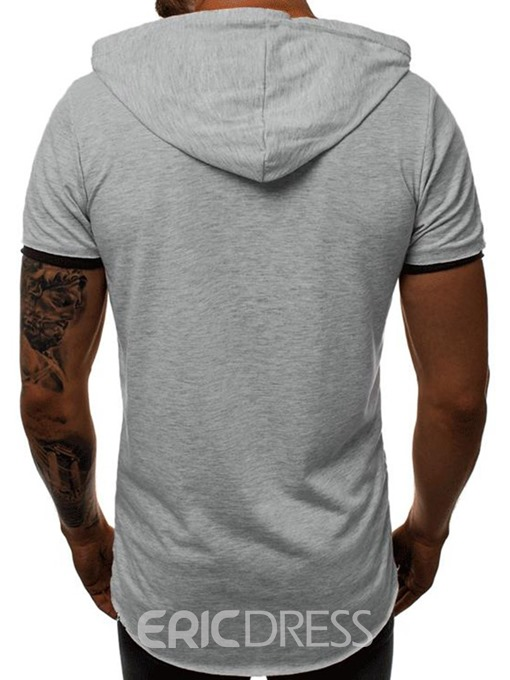 Ericdress Hooded Casual Color Block Mens Slim T-shirt