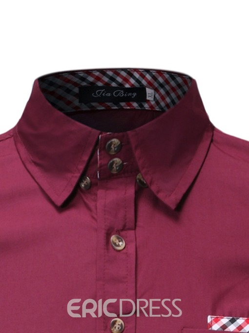 Ericdress Casual Lapel Color Block Mens Single-Breasted Slim Shirt