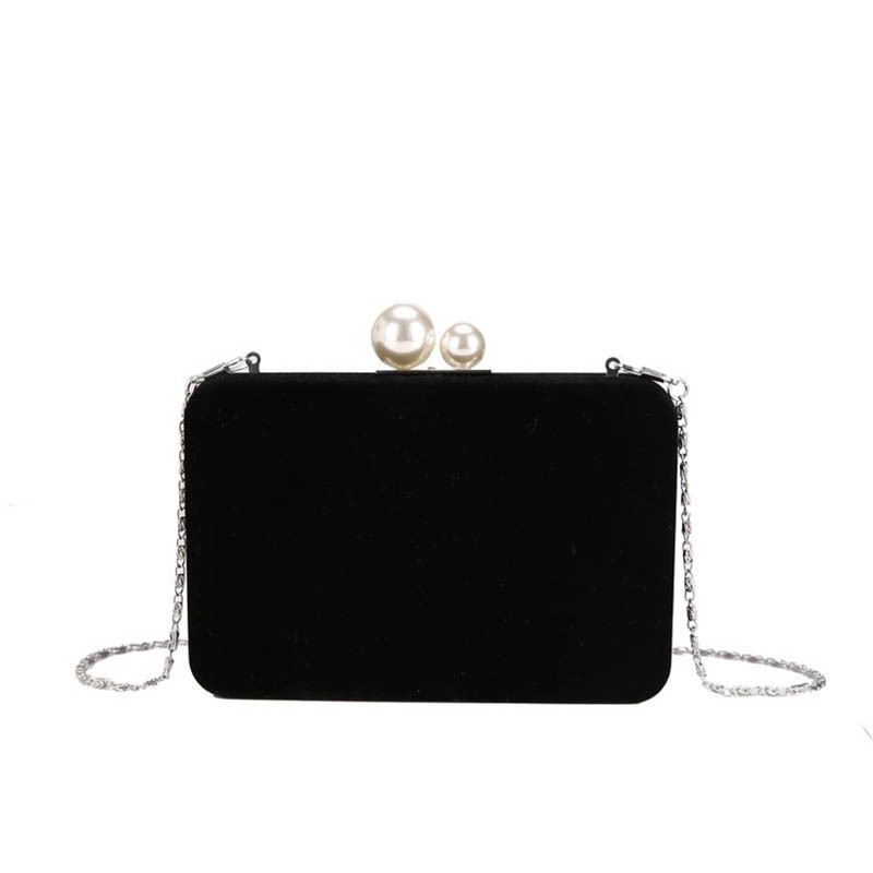 Ericdress Plain Velour Chain Flap Crossbody Bag