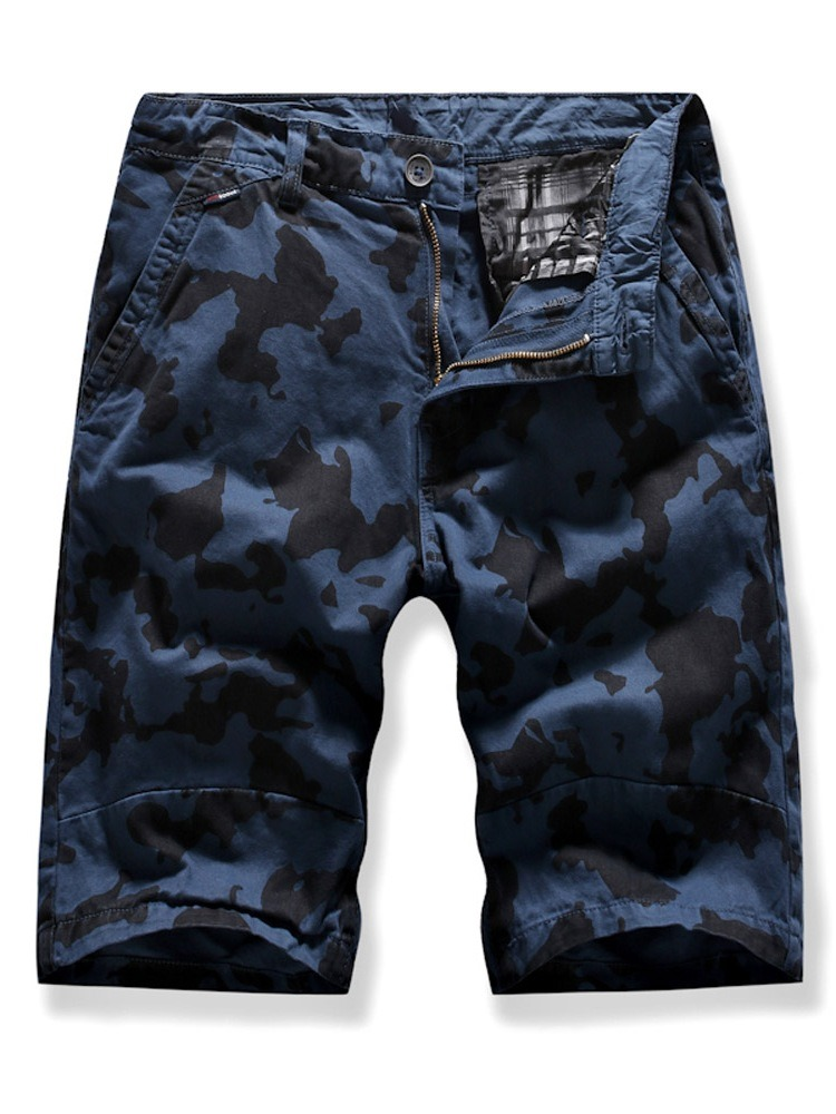 Ericdress Camouflage Print Straight Mid Waist Mens Zipper Shorts