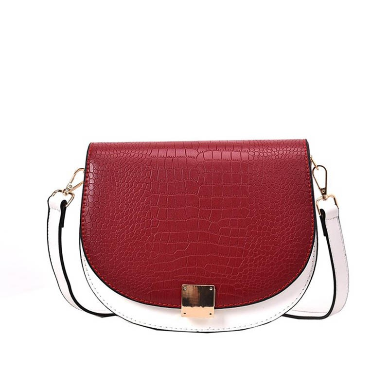 Ericdress Thread PU Saddle Two-tone Crossbody Bag