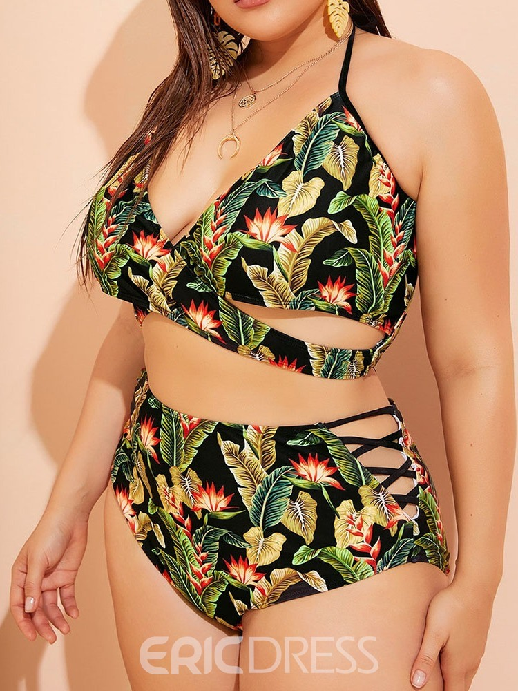 Ericdress Plus Size Plant Stretchy Lace-Up Swimsuit