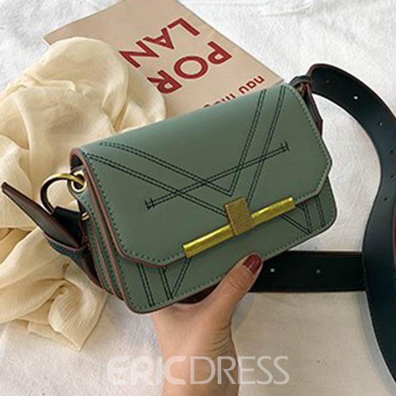 Ericdress Thread PU Rectangle Crossbody Bag