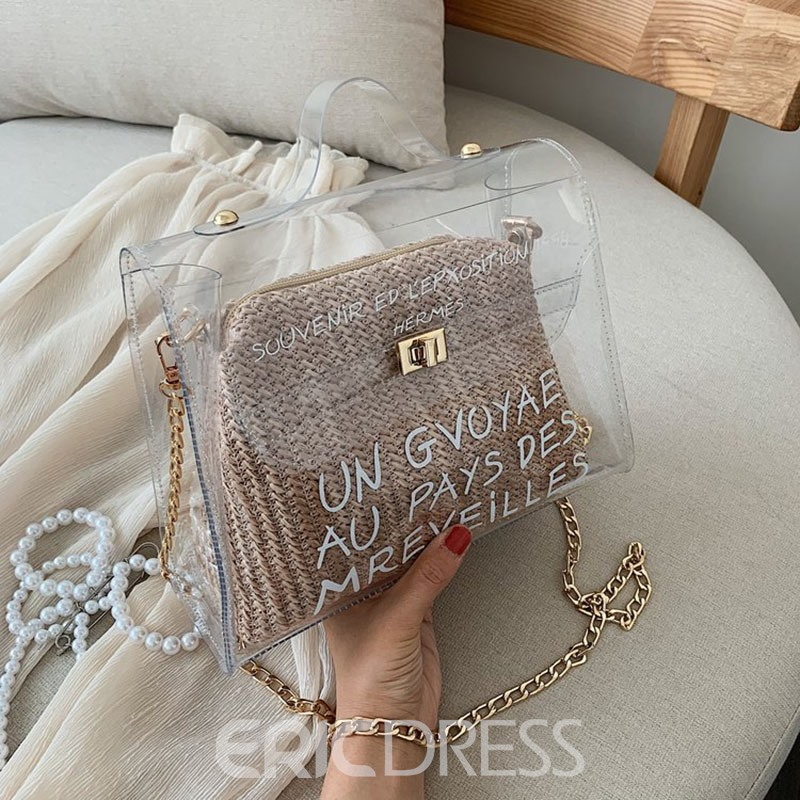 Ericdress Letter Print PVC Square Straw Shoulder/Crossbody Bag
