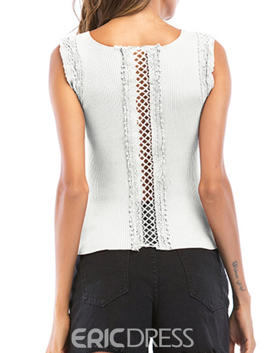Ericdress Lace Back Hollow Plain Women's Tank