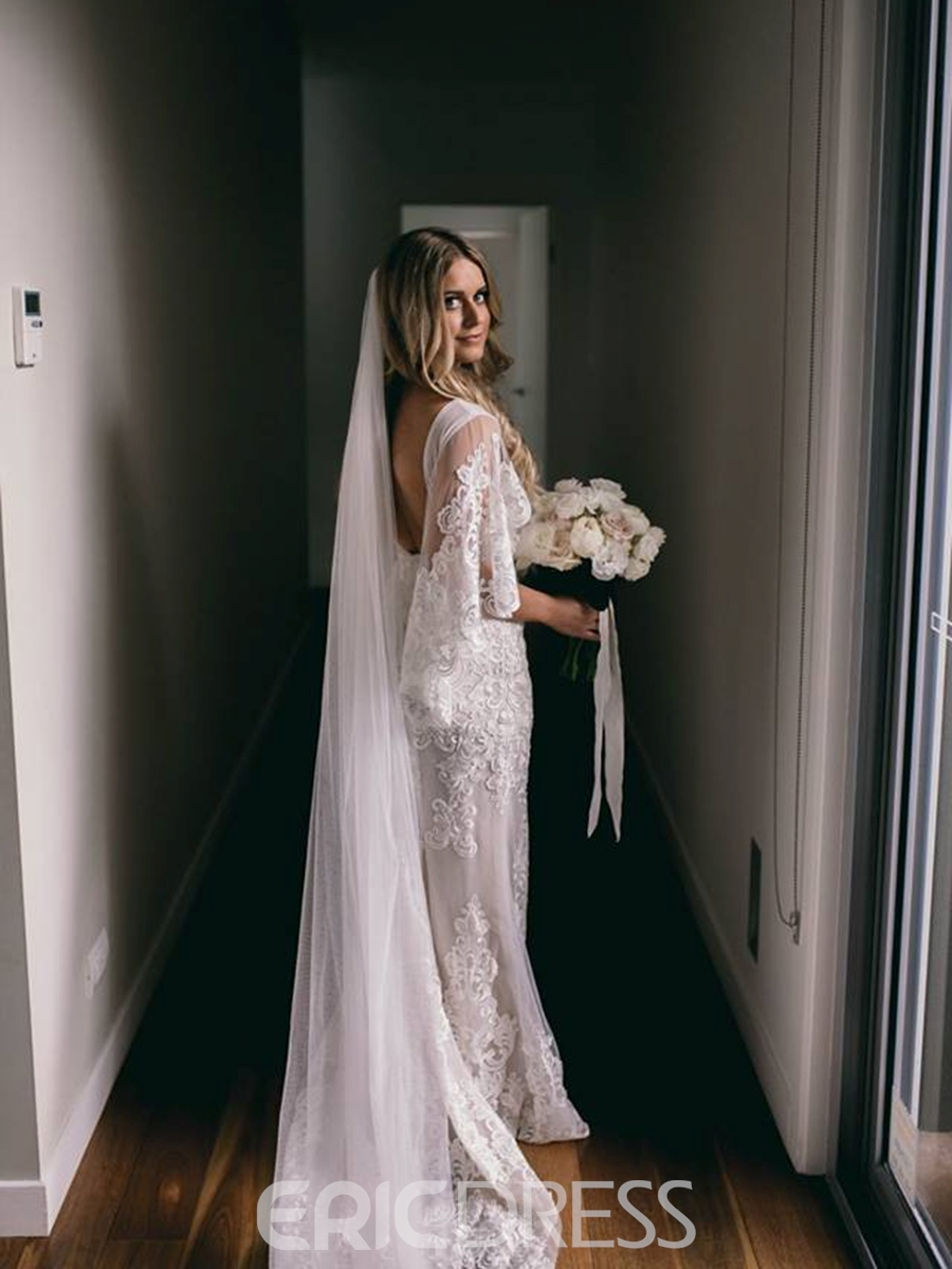 Ericdress Half Sleeves Appliques Garden Wedding Dress 2019