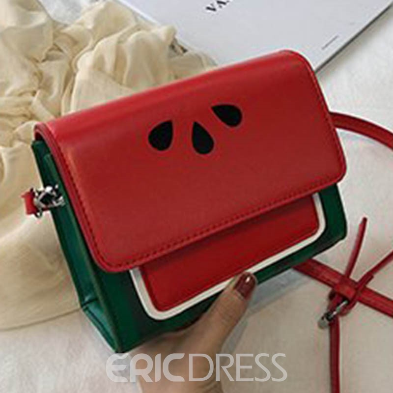 Ericdress Print PU Color Matching Square Crossbody Bag