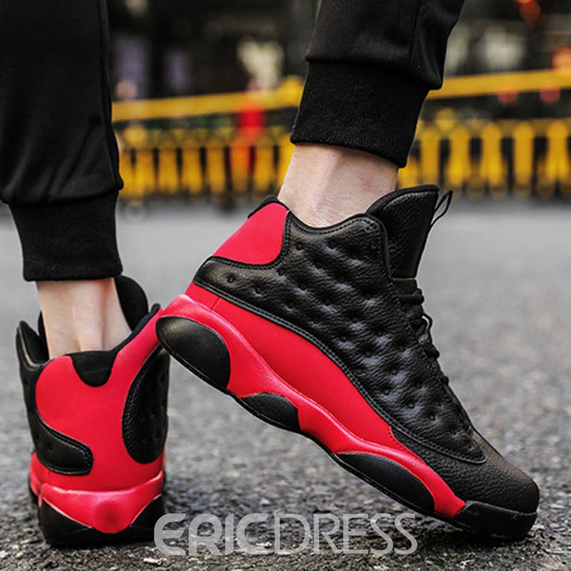 Ericdress Color Block Lace-Up High-Cut Upper Men's Sneakers