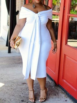 Ericdress Bodycon Mid-Calf V-Neck Pullover Plain White Dress