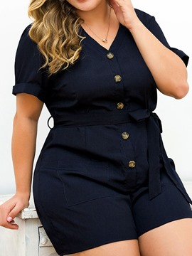 Ericdress Plus Size Belt Button Plain Slim Romper