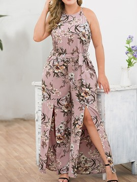 Ericdress Plus Size Floral Print Office Lady Slim Jumpsuit