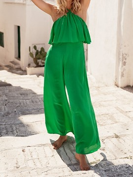 Ericdress Plain Ruffles Full Length Loose Jumpsuit