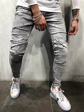 Ericdress Plain Casual Mens Zipper Jeans