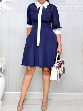 Ericdress Pocket A-Line Above Knee Color Block Lapel OL Dress