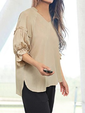 Ericdress Plus Size Plain V-Neck Pleated Lantern Sleeve Blouse