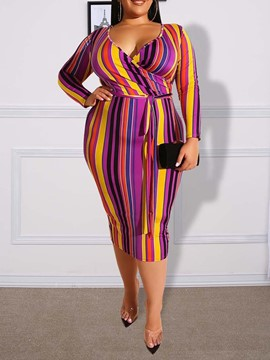 Ericdress Plus Size Striped V-Neck Print Pencil Regular Dress
