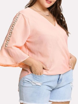 Ericdress Plus Size V-Neck Patchwork Flare Sleeve Blouse