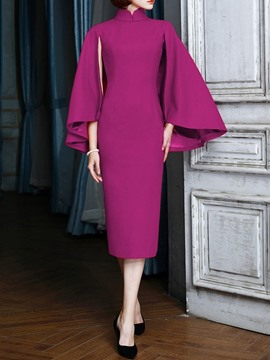 Ericdress Elegant OL Stand Collar Mid-Calf Straight Pullover Dress